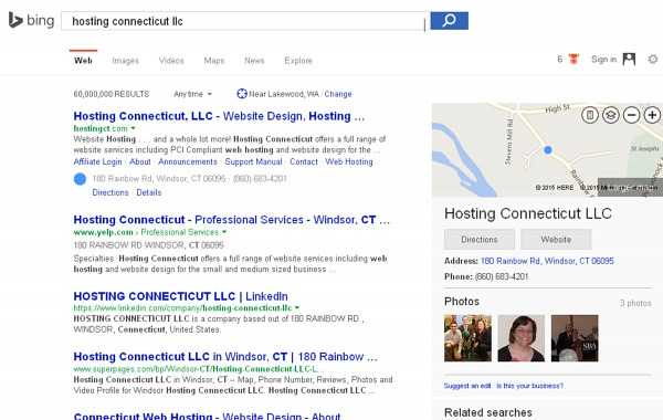 Bing search results displaying Hosting Connecticut, LLC as a business website