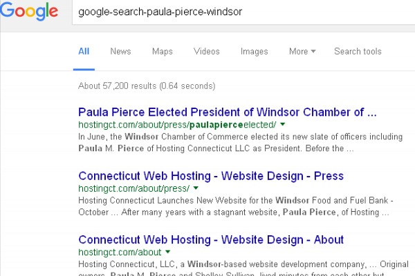 Example Google results searching by name for Personal Branding