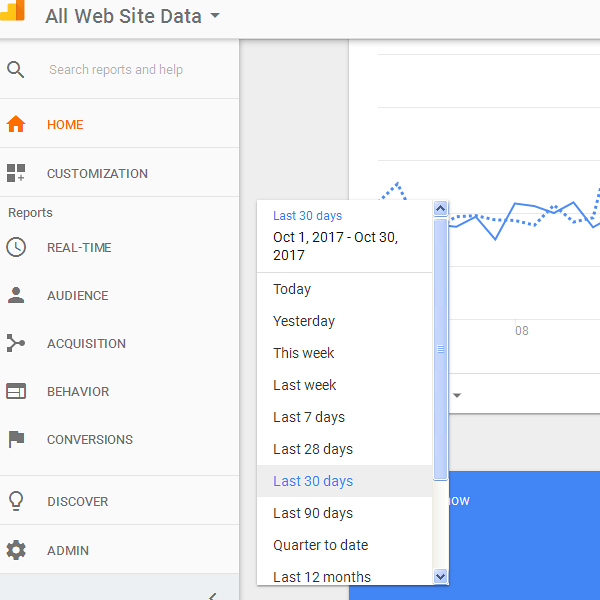 Google Analytics Data Range
