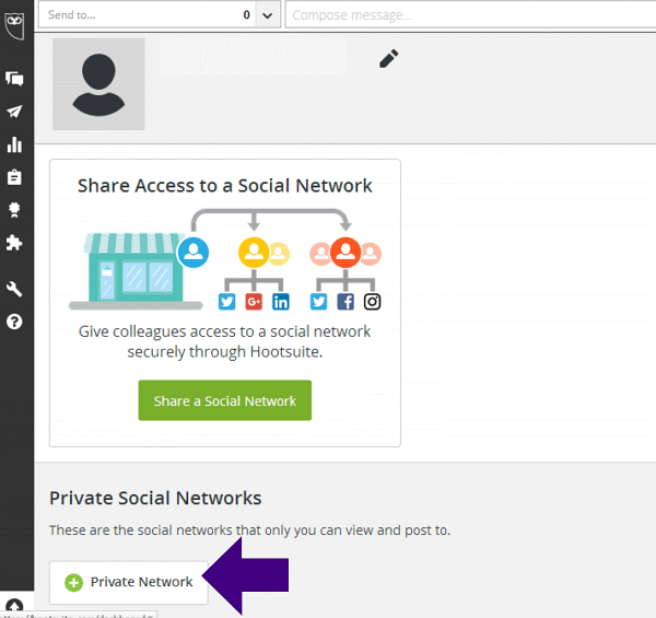 Share Access to a Social Network in Hootsuite