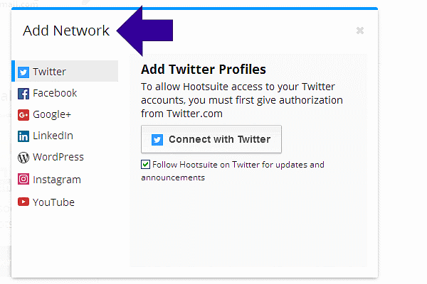 Add Your Social Network to Hootsuite