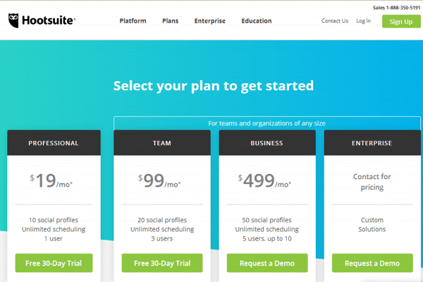 Picking the correct plan with Hootsuite