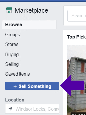 Selling an item on Facebook