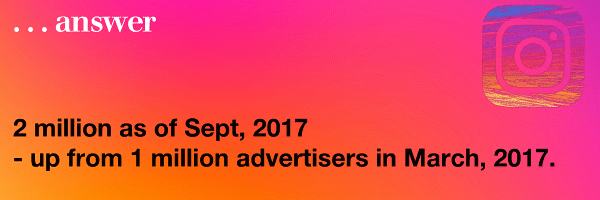 2 million as of Sept, 2017 - up from 1 million advertisers in March, 2017