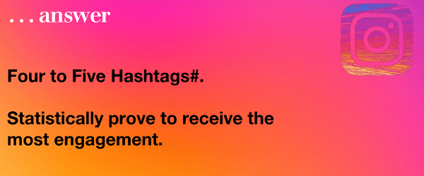 Four to Five Instagram Hashtags# statistically prove to receive the most engagement