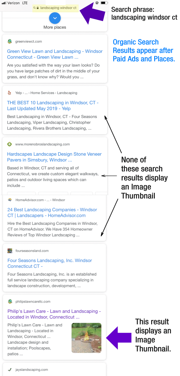 Image Thumbnails in Google Mobile Search Results