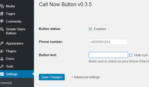 Wordpress Plugin Call Now Button